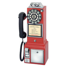 Crosley 1950's Styled Retro Look Payphone Wall Mount Home Telephone in Red: CR56