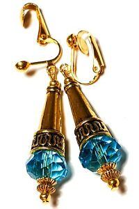 Long Gold Turquoise Crystal Clip-On Earrings Drop Dangle Style Artisan Bead clip