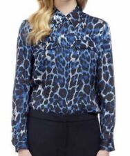 Bebe Womens Size L Blue Animal Print Button Up Shirt Roll Tab Sleeve Side Split
