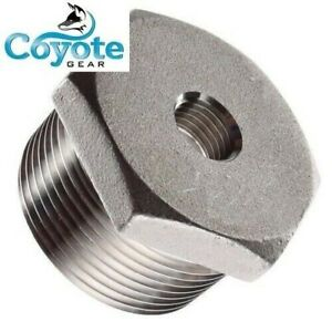 """(New 304 SS) 1-1/4"""" M x 1/8 F NPT Pipe Thread Stainless Steel Hex Bushing 150"""