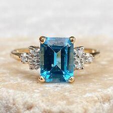 Estate 10KT Yellow Gold Emerald-Cut Blue Topaz + Diamond Ring