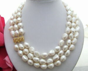 Natural Freshwater Pearls 9-11MM White Baroque Rregular Shaped Pearl Necklace