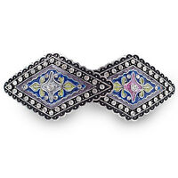 BA69 Clear Crystal Rhinestone Colorful Painted Vintage Alloy Barrette Hair Clip