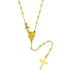 Collana rosario forzatina cm 60 pallina liscia mm 2,5 argento 925 placcato oro