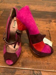 Miu Miu Pink, Red, & Maroon Suede Peep Toe Jewel Heels, Size 37 (IT) 7 (US)