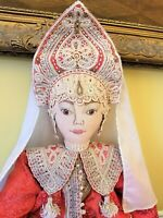 "30"" Large RUSSIA MOSKOW ALEXANDRA Cloth Doll ""MAVRA"" Handmade w/Tags Wedding"