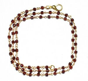 """Wire Faceted Rosary Beads Neckalce 30"""" Strand  Zircon 3mm Gold Plated YGF12141"""