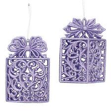11.5cm Christmas Lilac Glitter Gift Box Novelty Hanging Tree Ornament Decoration