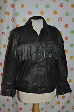 Western Excelled vintage black Leather Men'S 40 fringe coat retro hippie Usa