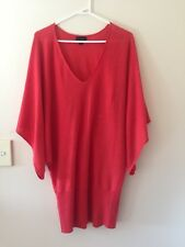 womens Witchery 55% linen 45% cotton batwing Sleeve Long Top tunic size M orange