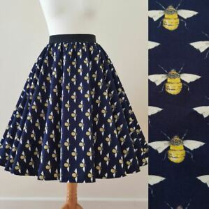 1950s Circle Skirt Bumble Bees Print - All Sizes - Navy Blue Yellow Rockabilly