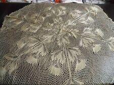 2 Strickdecken Mittel- Tischdecken Baumwolle Handaerbeit 80x80 hellbeige CB1666
