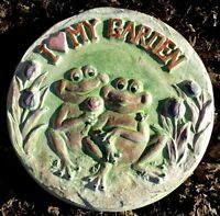 """Frog stepping stone 1/8th"""" plastic concrete plaster mould 12"""" x 1.25"""" thick"""