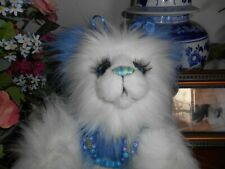 """BLUEBELL by MJ Bears Blue and white bear 14"""" Excellent condition"""