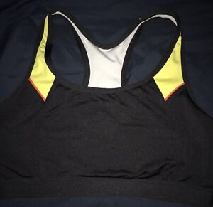 Champion Women's Absolute Sports Bra with SmoothTec Band, Black/Yellow SizeLarge
