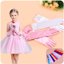 1 Pair Princess Long Pink White Gloves Girls Costume Dress Outfit Cosplay Party