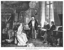 "Richard u. Cosima Wagner, Franz Liszt, v. Wolzogen ""Wahnfried"", Holzstich 1894"