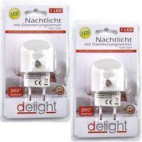 2 LED Nachtlicht mit Dämmerungssensor 1 LED 4,5x2,5cm für Steckdose 360° drehbar