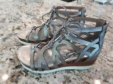 OTBT Womens 9.5 Escapade Gladiator Sandals Metallic Silver Leather Wedge      B4