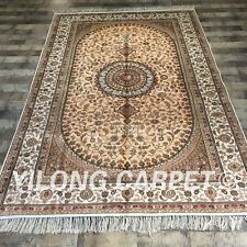 YILONG 5'x8' Handknotted Persian Silk Carpet Floral Home Decor Area Rug ZW194C