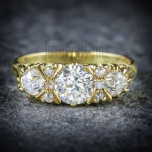 10K Solid Yellow Gold 2.00 Ct Round Cut Moissanite Antique Engagement Ring