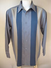 Cool Mens Rockabilly Bowling Shirt S Long Sleeve Gray 50s Panel Bar 2Tone Tattoo