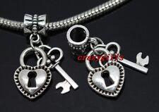 6/30/100pcs Tibet Silver Key lock Bulk Lot Dangle Charms Fit Bracelet DIY