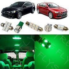 7x Green LED lights interior package kit for 2007-2014 Mitsubishi Lancer ML1G