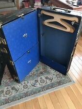 Antique Vintage Steamer Trunk Case Goldsmith Co. CHEST- Black W/ Hangers Drawers