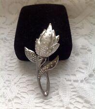 Large Swarovski Swan Signed Crystal Tulip Bud Flower Pin Brooch