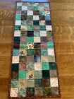Fall Green Brown Beige Tan Flowers Quilted Table Runner Handmade