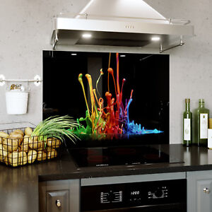 Glass Splashback Kitchen Tile Cooker Panel ANY SIZE Splash Colourful Paint 0323