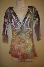 Simply Irresistible semi sheer multi color earth tone butterfly  top W S