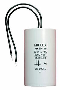 Condensateur moteur de démarrage/permanent 30µF 30uF 450V à fils travail MKSP-5P