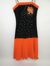 Ballroom Latin Dance Competition Dress Swarovski Rhinestones Black Orange XS