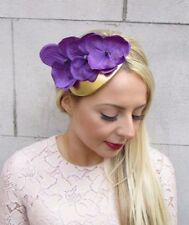 Purple Gold Orchid Flower Fascinator Hair Headband Races Teardrop Hat Hair 4205