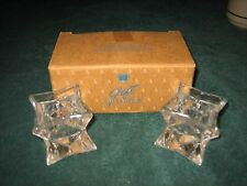 Set Of 2 Glistening Star Shape 24% Lead Crystal Candle Holders By Avon~New In Bo