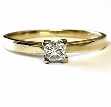 14k yellow gold .26ct princess VS1 K diamond solitaire engagement ring 1.8g