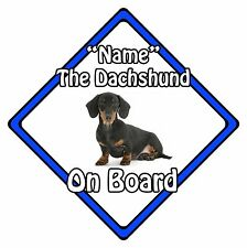 Personalised Dog On Board Car Safety Sign - Dachshund On Board Blue