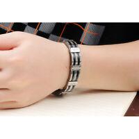 Top Armband Edelstahl Kürzbar Herren Luxus Armreif Armkette Schwarz Silber 21cm