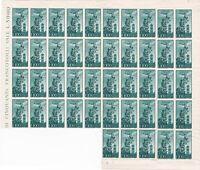 1848 foglio parziale di 45 francobolli del 100 lire verde azzurro Campidoglio di