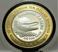 DOLPHIN CASINO * DOLPHIN* MM G  RARE HARD FIND  .999 silver strike ST MAARTEN NA