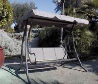 Dondolo Sapri Da Giardino Acciaio / Alluminio Grigio 190x135x170H cm 3 Posti