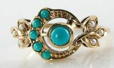 UNUSUAL 9CT GOLD TURQUOISE & PEARL SUN & MOON CREST ART DECO INS RING FREE SIZE