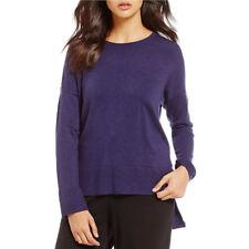 EILEEN FISHER $228 Round Neck Box-Top viscose nylon boxy sweater Small Purple