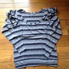 T-shirt rayé gris Chattawak Taille 2 forme blouse manches longues