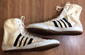 Onitsuka Tiger high top wrestling shoes size 9 vintage white black Taiwan
