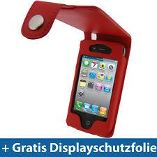 Rot PU Leder Tasche Schutz für Apple iPhone 4  & 4S 16gb 32gb 64gb 4G Gen Hülle