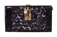 NEW $1900 DOLCE & GABBANA Bag Purse BOX SICILY Purple Floral Lace Clutch Borse