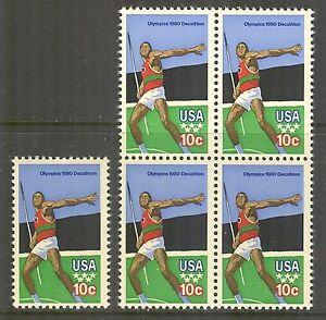 US #1790, 1979 10c Issue - 1980 Olympics Decathlon/Javelin, S/B4 Unused NH